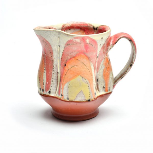 orange yellow and red handmade ceramic creamer, small pitcher, bryson city artist, bryson city clay