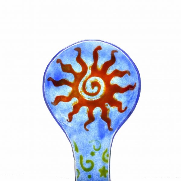 hippy kitchen art, sun spoon rest, glass hippy art