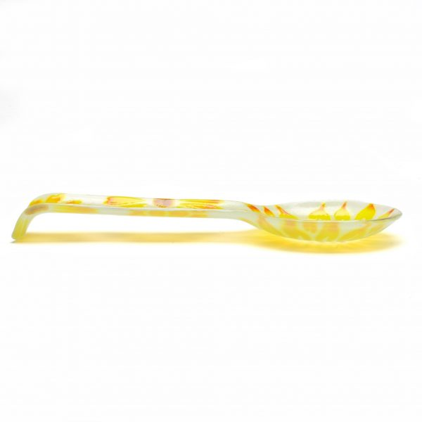 side view of yellow flower glass spoon rest, affordable flower gift