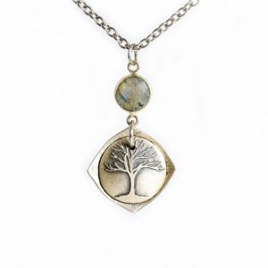handmade sterling silver locket with grand oak tree and strength inside