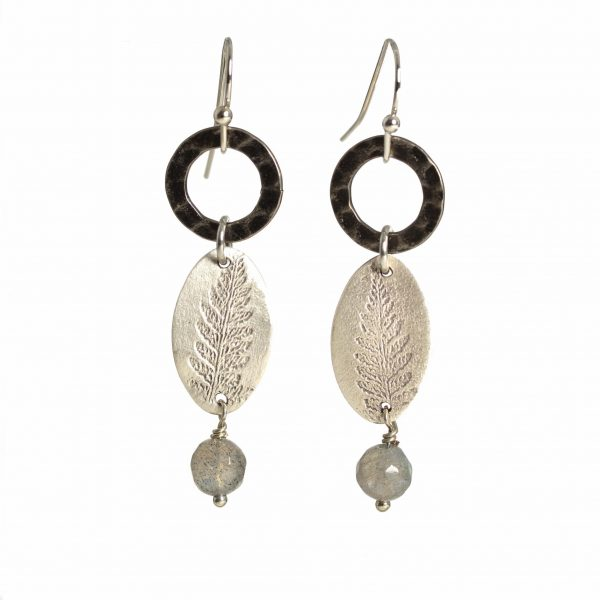 handmade sterling silver fern earrings with dark silver ring and labradorite bead