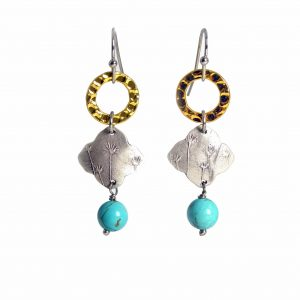 silver and gold handmade dandelion earrings with turquoise bead, dangle earrings, alchemist garden jewelry, asheville crafted earrings, mixed metal