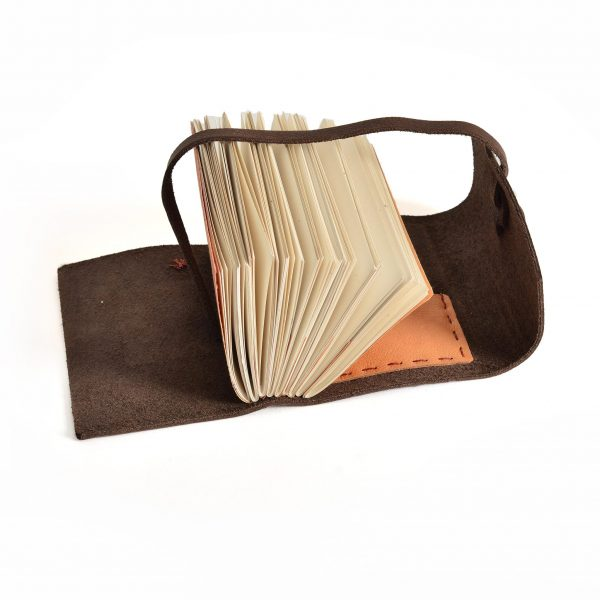 dark brown leather handmade journal with acid free paper and leather strap, nc handmade gift