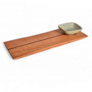 rectangle wooden tray with dip bowl, ceramic bowl with wooden tray, handmade wooden serving tray