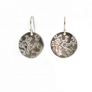 textured silver glass circle earrings, precious metal clay earrings, cheap handmade earrings, tween gift asheville
