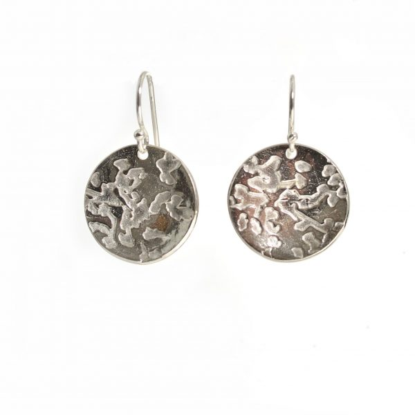 textured silver glass circle earrings, precious metal clay earrings, cheap handmade earrings, tween gift asheville