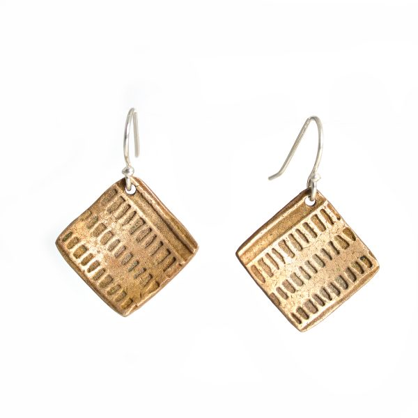 bronze square stamped textured earrings, affordable asheville craft gallery