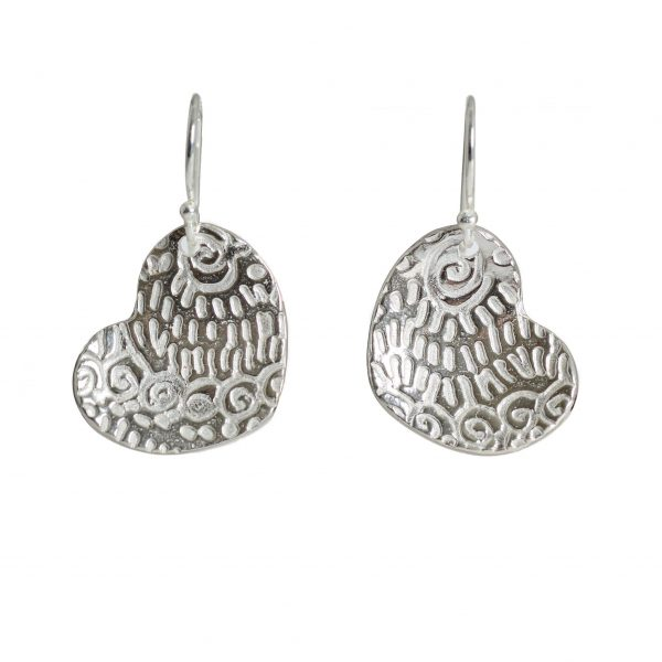 textured sterling silver heart earrings, asheville silver jewelry, valentines day jewelry, gift for wife, affordable handmade jewelry