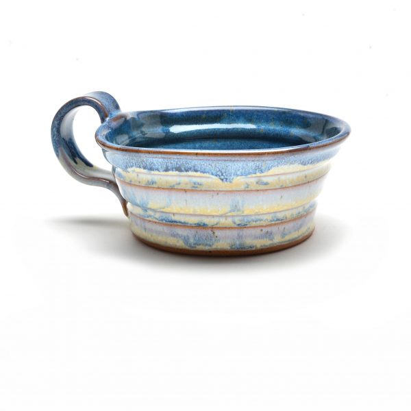 white and blue handmade soup mug, nc pottery, asheville clay artist