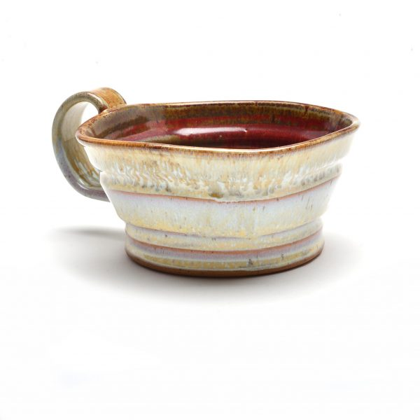 cream and red soup mug by sue grier, handmade kitchen gift, chili in the winter,