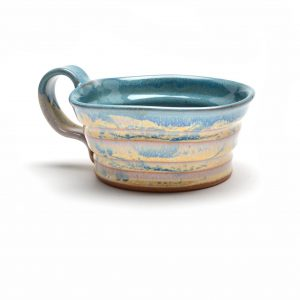 sage and cream soup mug, wheel thrown soup mug with handle