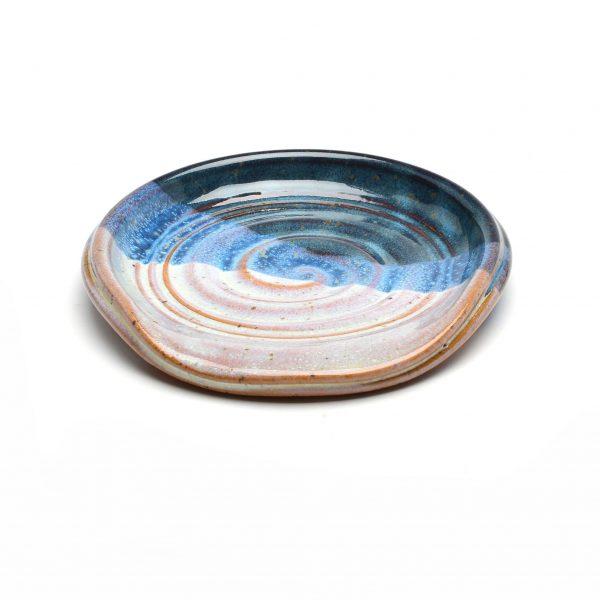 white and blue handmade spoon rest, cheap handmade gift, asheville kitchen gift