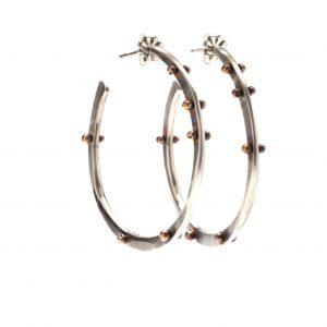 handmade oxidized hoops, north carolina jeweler,