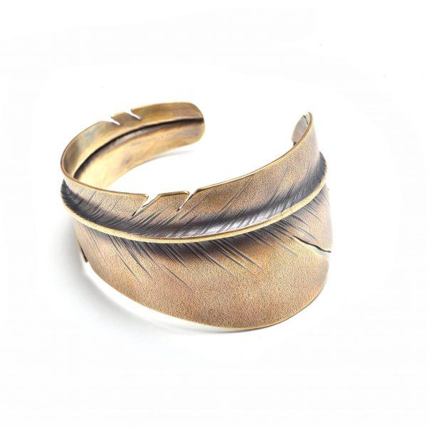 handmade feather cuff bracelet, realistic feather bracelet,