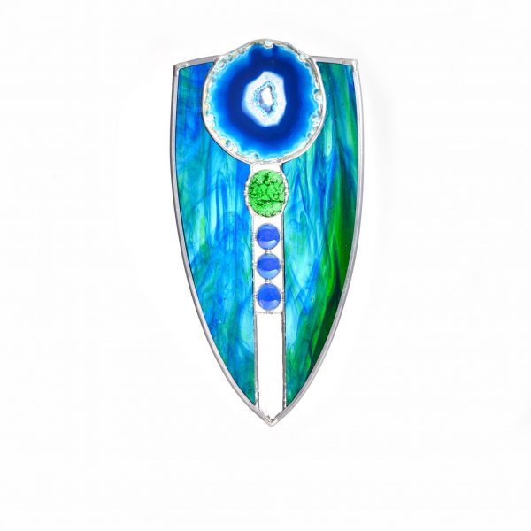 blue and green unique suncatcher with blue geode, water art, unique stained glass window, asheville stained galss