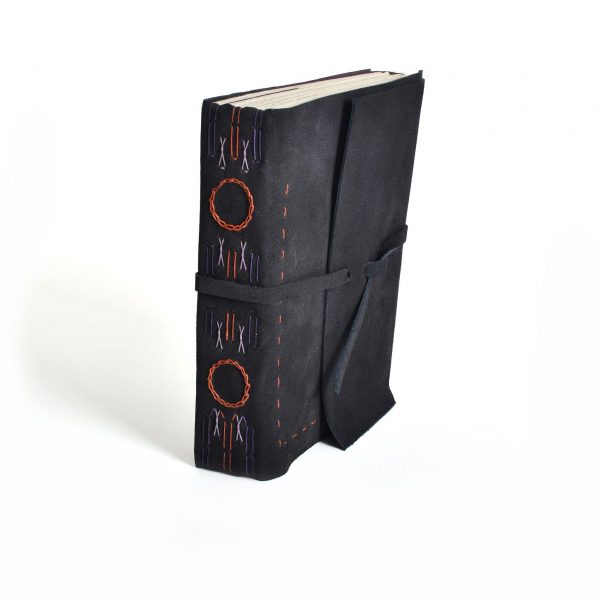 soft leather handmade journal, hand stitched binding
