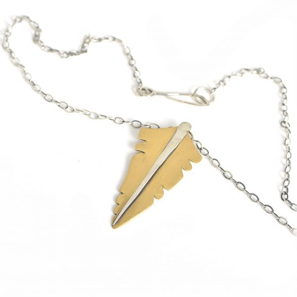 badass jewelry, feather necklace brass and silver, feather jewelry