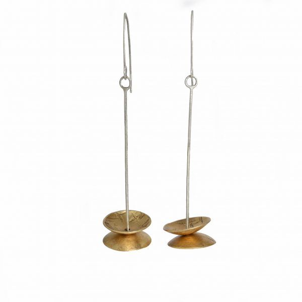 long handmade silver and brass bell earrings, textured brass discs, earrings for short hair, asheville jeweler