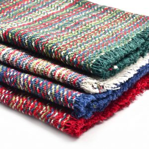 green white blue and red handwoven cotton napkins with fringe edge,