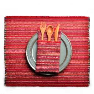 red green blue white handwoven striped placemat with fringe edges