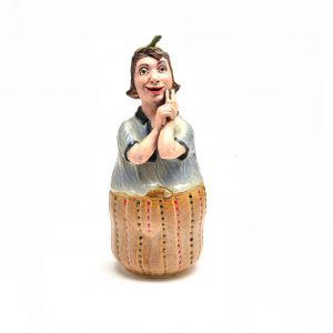 woman bank, weird southern art, handmade pottery bank, handmade ceramic bank,