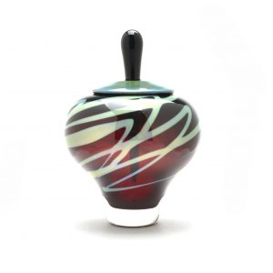 handmade glass perfume bottle, rob levin glass artist, nc glass blowing,