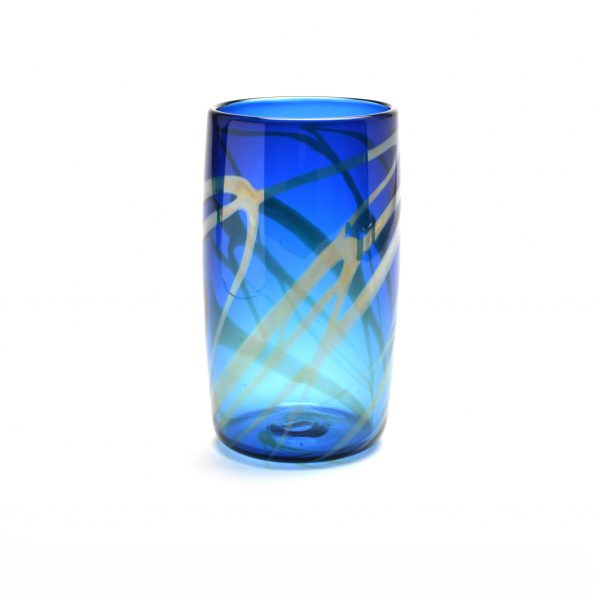 blue handmade glass pint glass, nc glass, penland glass artist, rob levin, glass blowing