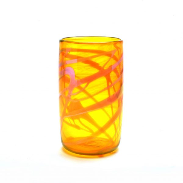 yellow spiral pint glass, handmade glass tumbler, asheville glass blowing, penland glass artist