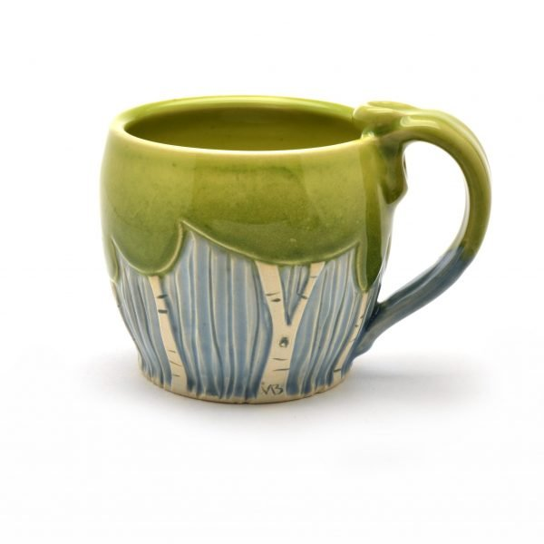 low soup mug with tree decoration, dr. seuss pottery, tree mugs,