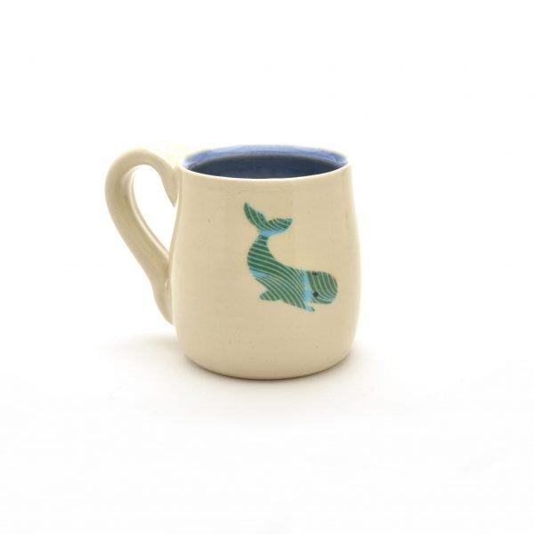 wheel thrown handmade mug, white mug with whale and blue interior