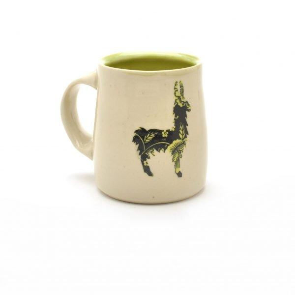 llama mug, wheel thrown mug with llama