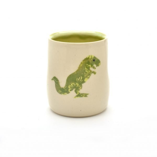 dinosaur cup, white handmade cup with green inside and dinosaur decoration