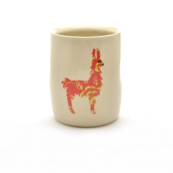 llama handmade ceramic cup, pottery with llama deco