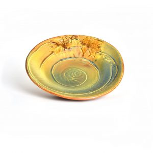 interior view of green and yellow wheel thrown platter with leaf and acorn decoration, mountain home, house warming gift, new home, southern appalachian craft