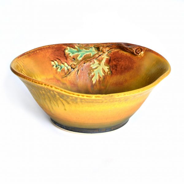 brandy ward ceramic bowl with nature, nature art, asheville potter,
