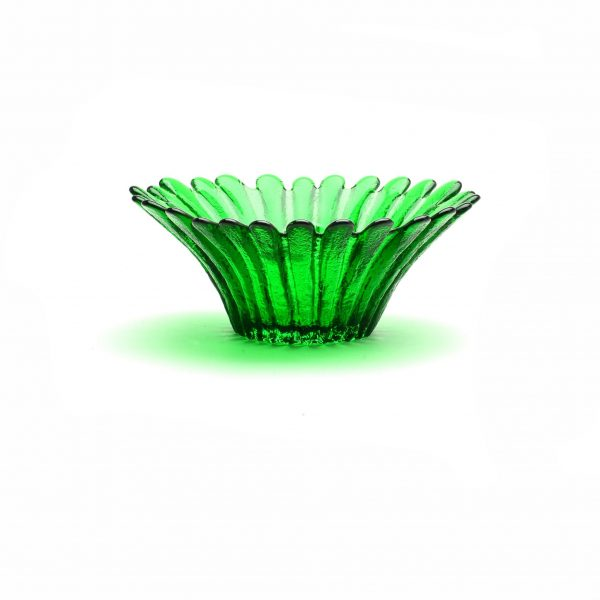 glass daisy green bowl, wv glass artist, west virginia glass blowing, southern craft, appalachain art,
