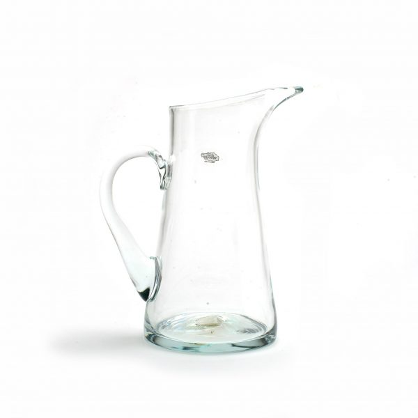 crystal glass handmade pitcher, clear large pitcher or vase from wv glass artist, glass blowing