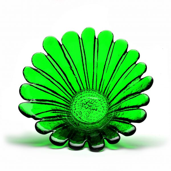 clover green glass daisy flower bowl, wv glass blowers, west virgina glass artist