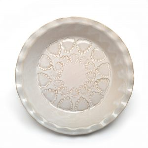 stamped white handmade pie plate, pottery pie plate, nc clay