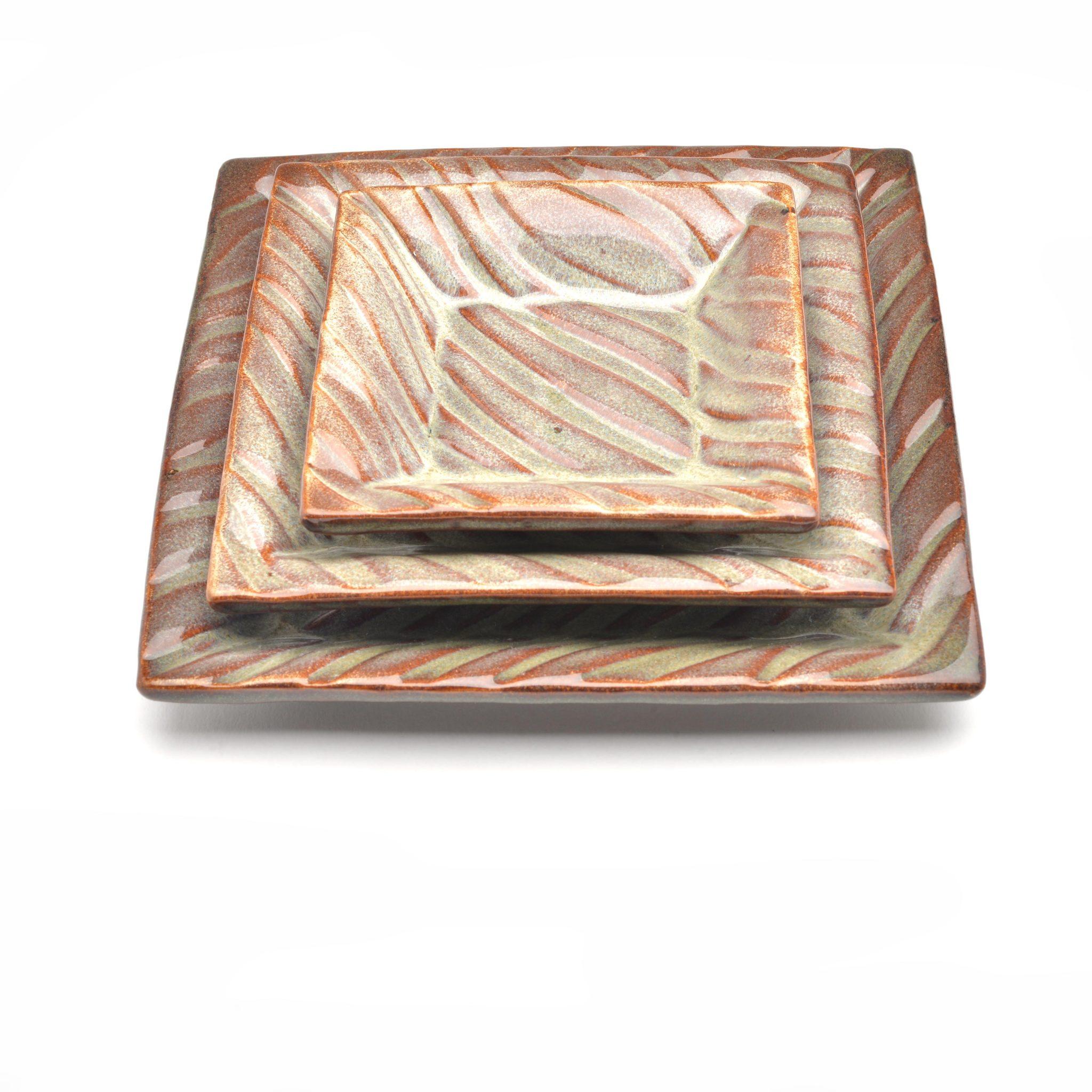 zebra print brown square plate set, handmade pottery plates