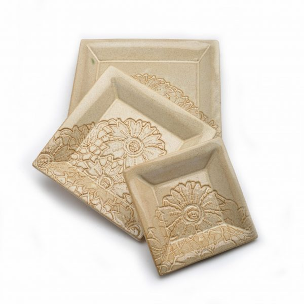 lace square tray set, off white lace plates