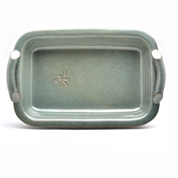 slate blue baking dish with chinese character, handmade pottery loaf pan, nc clay,
