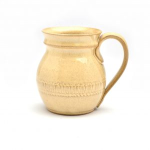 butter yellow handmade mug with handle, pinkul pottery, cheap pottery