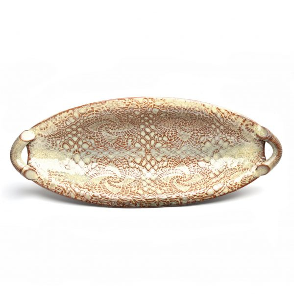 lace pottery, oval bowl with feet and handles, clay centerpiece