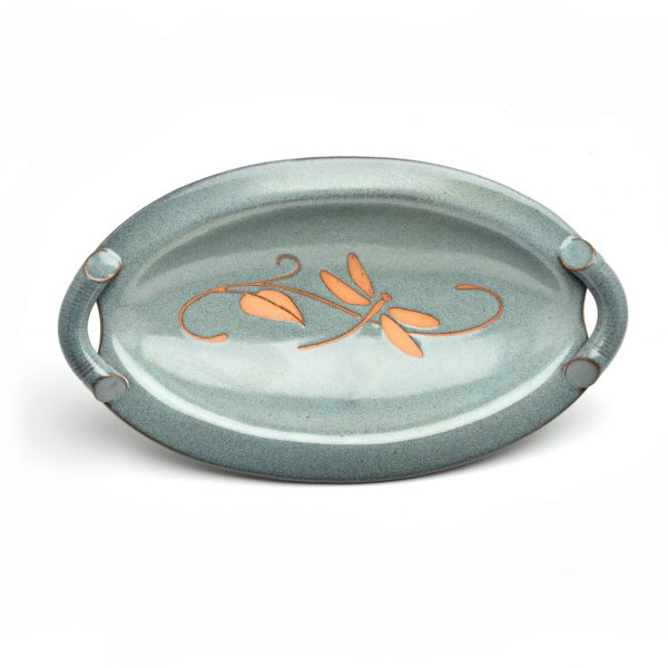 slate blue oval dish with dragonfly design, handmade ceramic candy dish, cheap pottery,