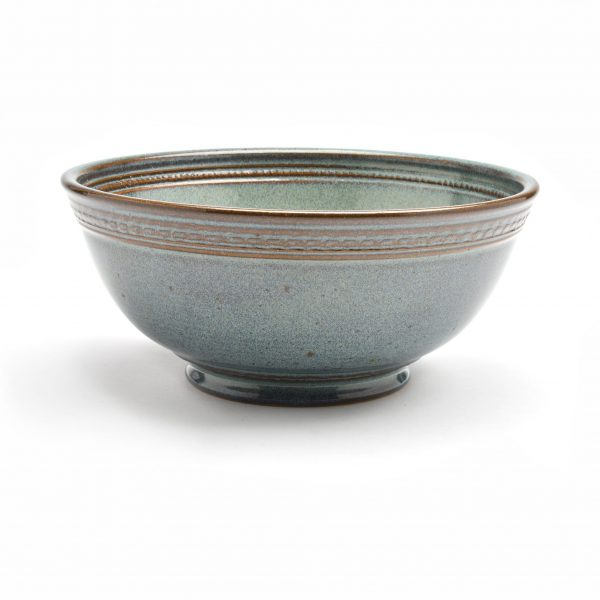slate blue wheel thrown bowl with carved rim, cereal bowl, small serving pottery bowl, cheap handmade pottery, nc clay artist