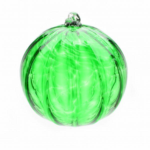 handmade green glass christmas ornament, asheville glass blowing, weaverville glass artist, handmade holiday decor