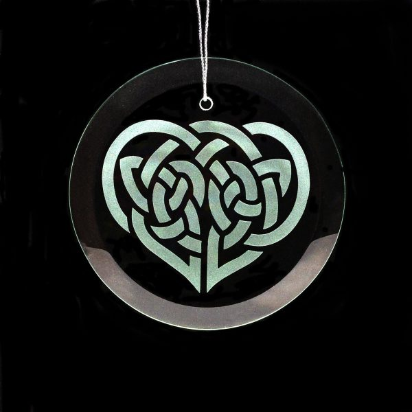 celtic heart ornament, irish ornament, sandblasted handcrafted gift