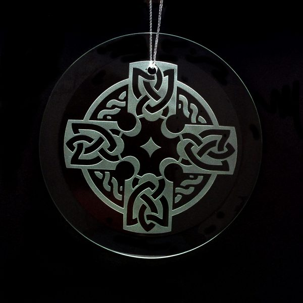 celtic cross ornament, handcrafted glass plate gift, irish handcrafted gift
