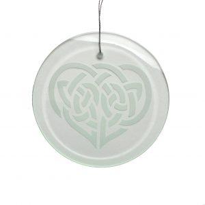 celtic heart glass ornament